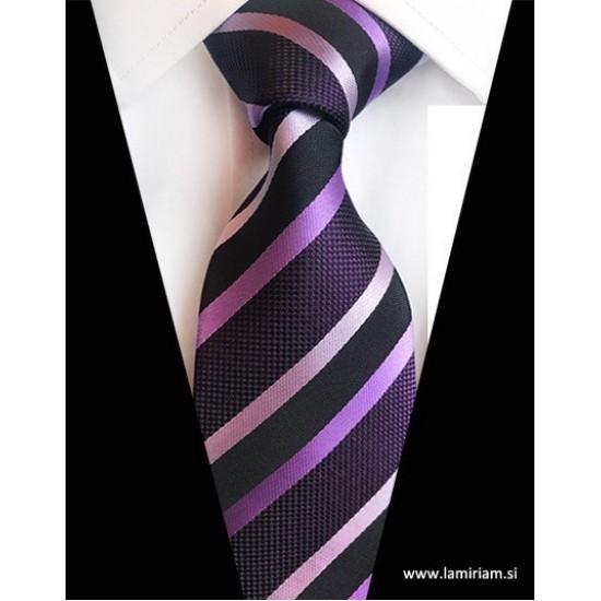 Moška kravata plaid črte violet K102