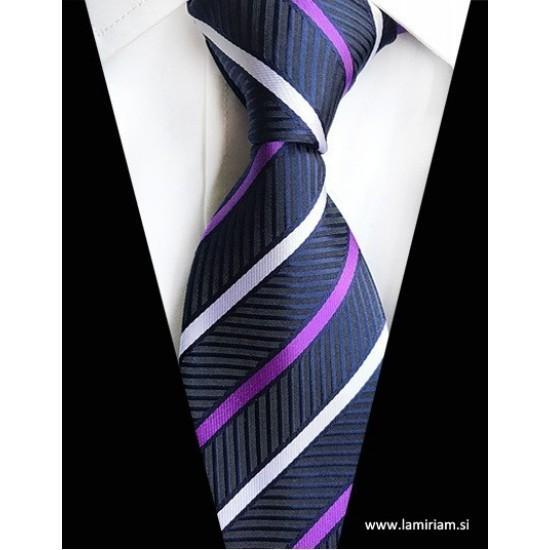 Moška kravata plaid črte vijolično-modra K103