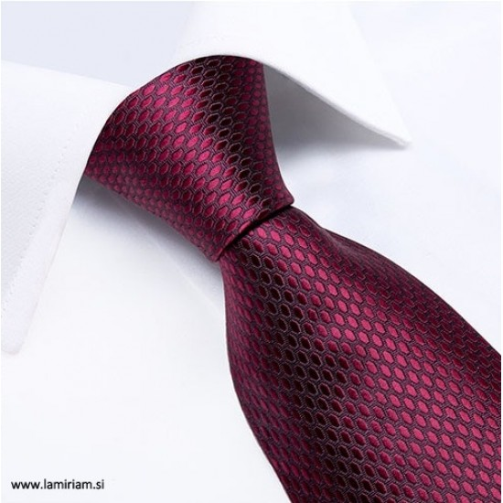 Moška kravata 3-delni set bordo-rdeča K103