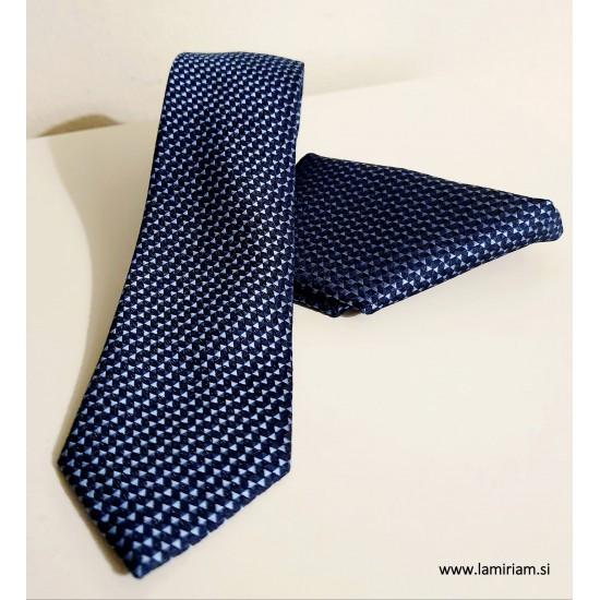 Moška kravata 2-delni set makrame modra K104