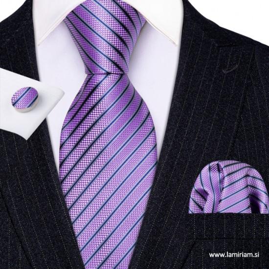 Moška kravata 3-delni set violet KR103