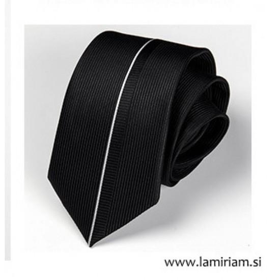 Moška kravata črno-srebrna črta KR102