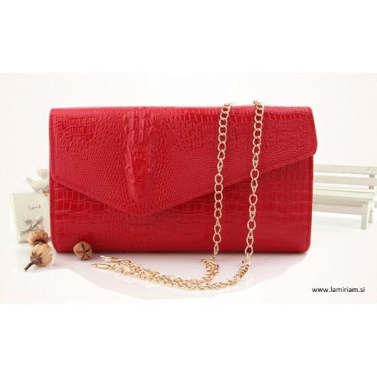 Ženska torbica kroko rdeča T102 Torbice
